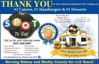 Thank you to our valued customers for voting us #1 Caterer, #1 Hamburgers & #1 Desserts