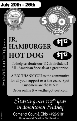 Jr. Hamburger / Hot Dog - $12