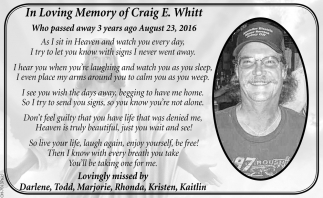 In Loving Memory of Craig E. Whitt