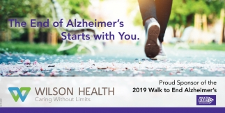 Proud Sponsor of the 2019 Walk to End Alzheimer's