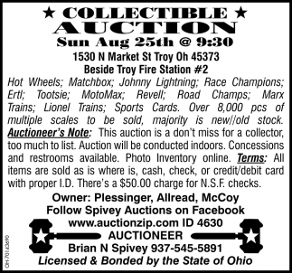 Collectible Auction - Aug 25th