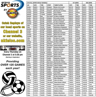 NKTelco Sports - Catch Replays our local sports on Channel 3