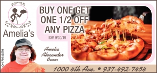 Buy one get one 1/2 off any pizza