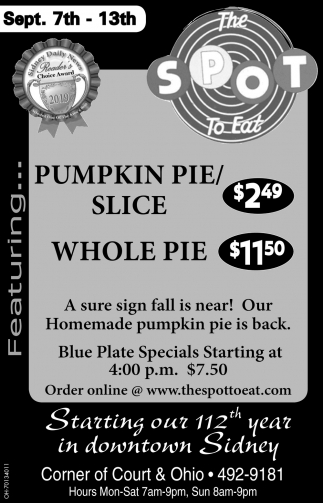 Pumpkin Pie / slice $2.49 - Whole Pie $11.50