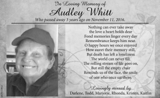 In Memory of Audley Whitt