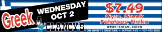 Greek - Wednesday Oct 2