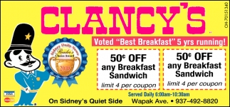 Voted Best Breakfast 5 yrs running!