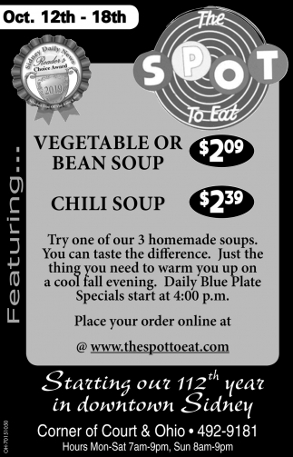 Vegetable or Bean Soup $2.09 | Chili Soup $2.39