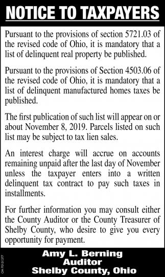 Notice to Taxpayers