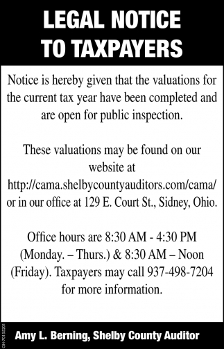 Legal Notice to Taxpayers