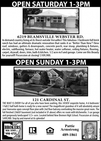 Open House - 6219 Beamsville Webster Rd | 121 Cardinal St.