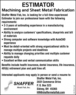 Estimator - Machining and Sheet Metal Fabrication