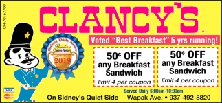 50¢ Off any Breakfast Sandwich