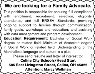 We are looking for a Family Advocate