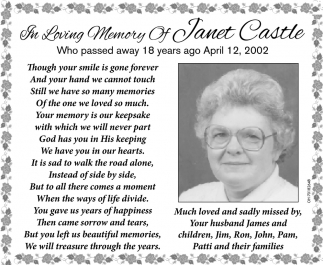 In Loving Memory of Joseph Janet Castle