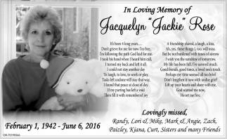 In Loving Memory of Jaqueline