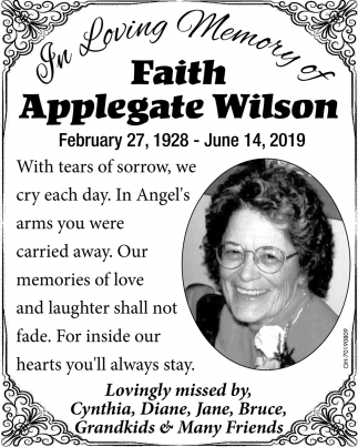 In Loving Memory of Faith Applegate Wilson