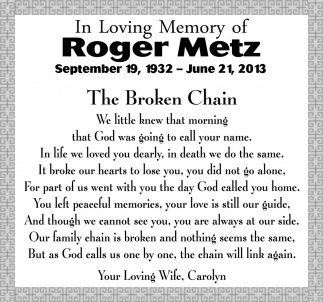 In Loving Memory of Roger Metz