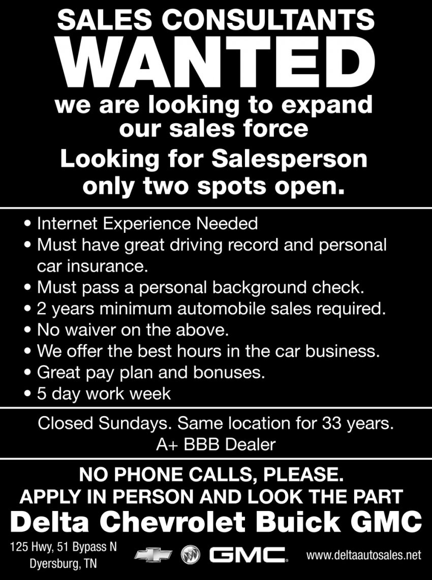 Sales Consultants Wanted