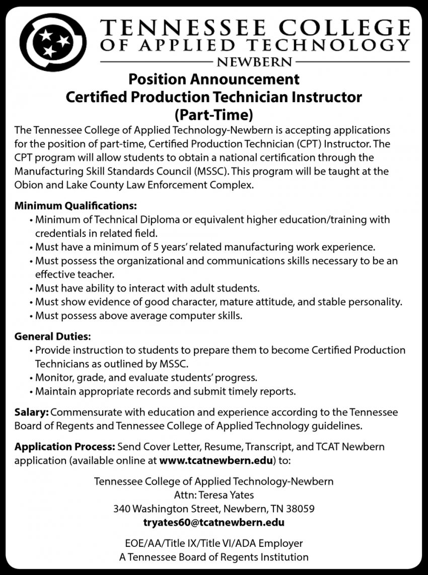 Certified Production Technician Instructor