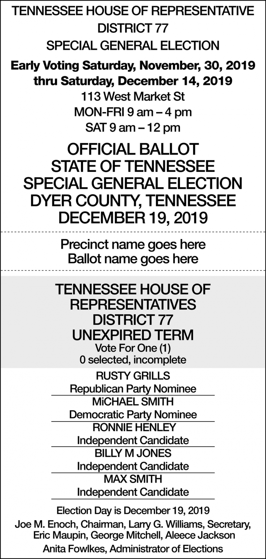 Tennessee House of Representative District 77 Special Primary