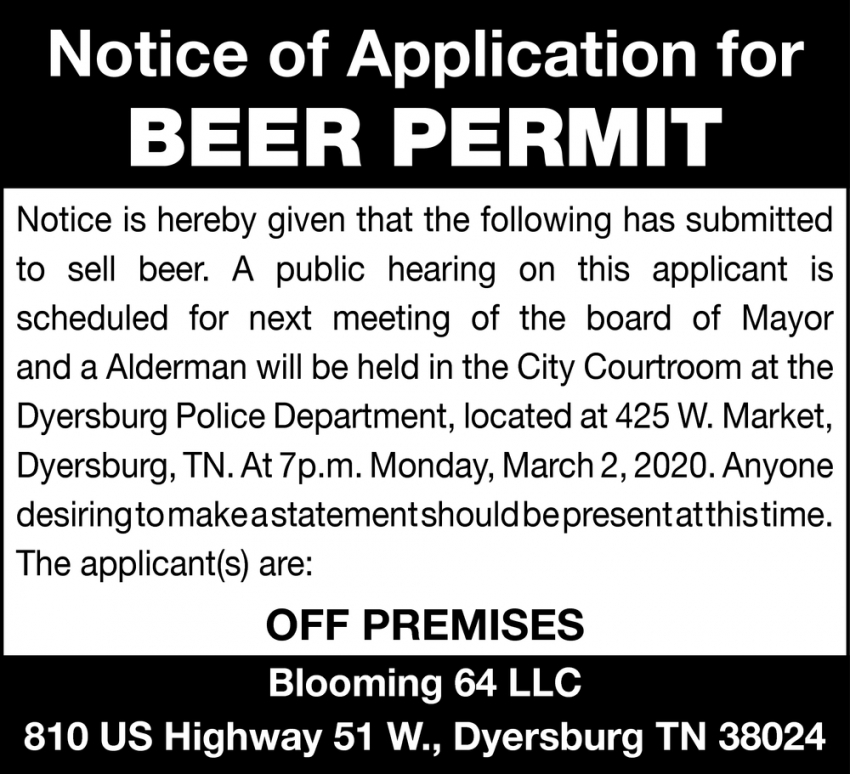 Notice of Application for Beer Permit
