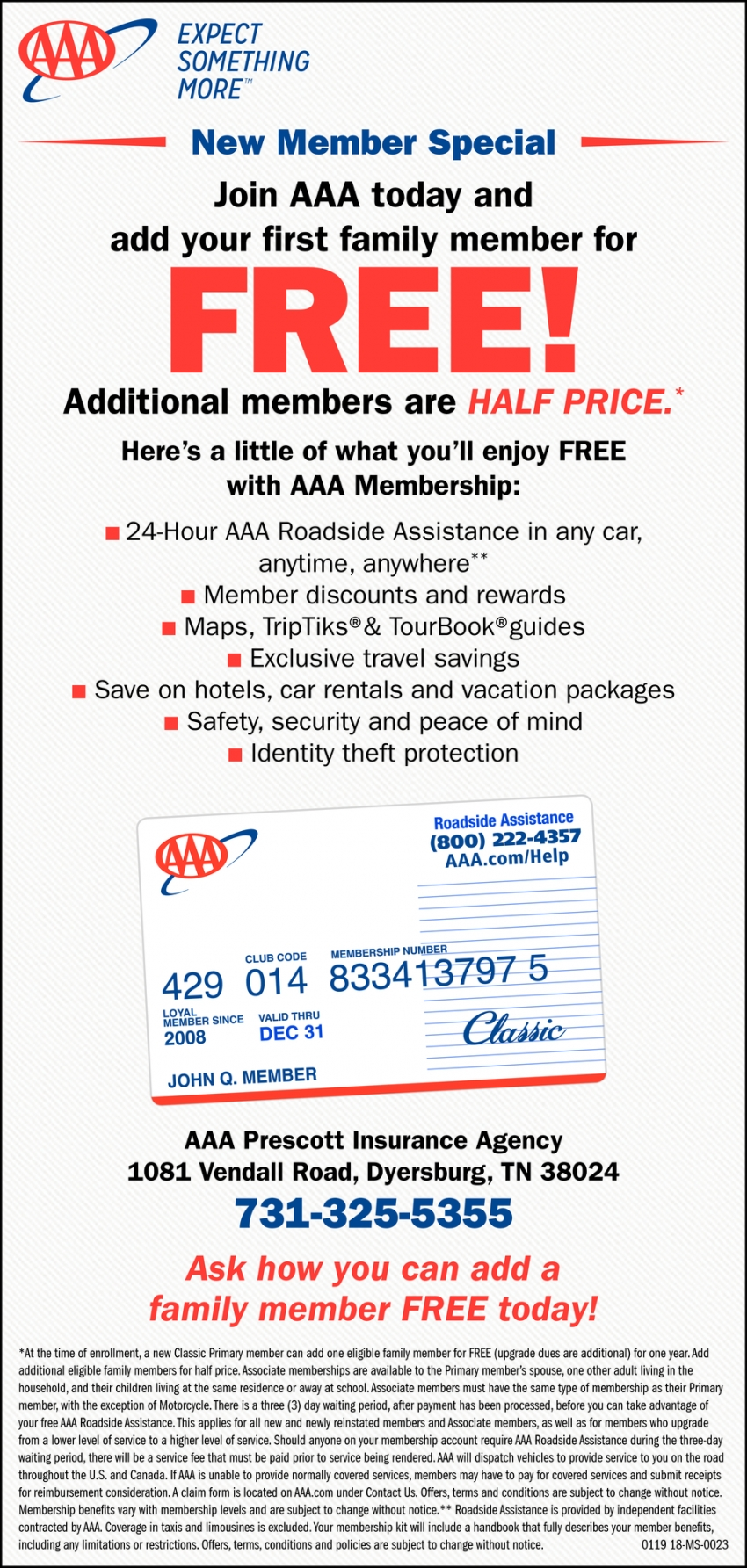 Join AAA Today and Add Your First Family Member for FREE!