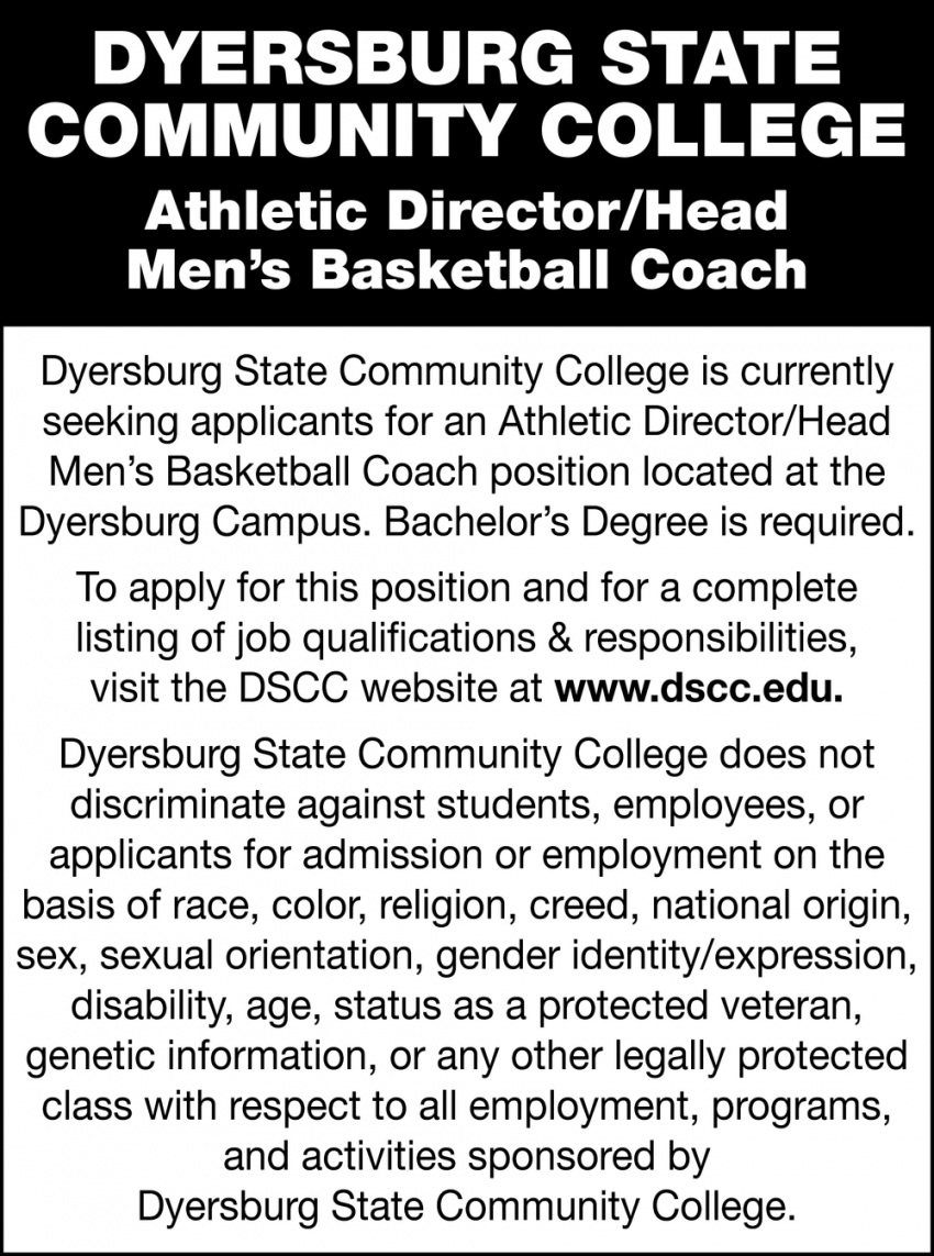 Athletic Director/ Head Men's Basketball Coach