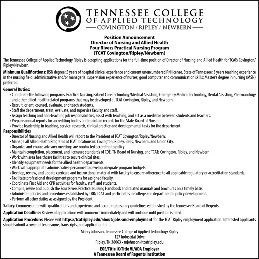 Director of Nursing and Allied Health