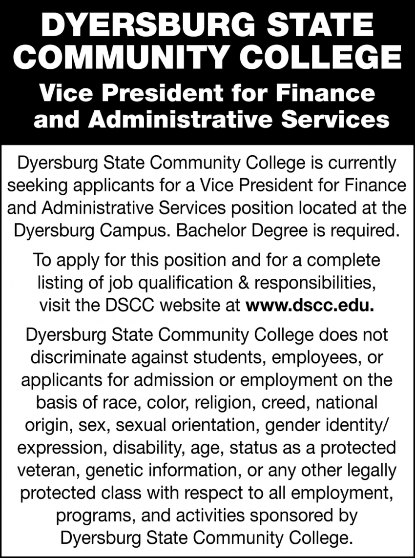 Vice President for Finance and Administrative Services