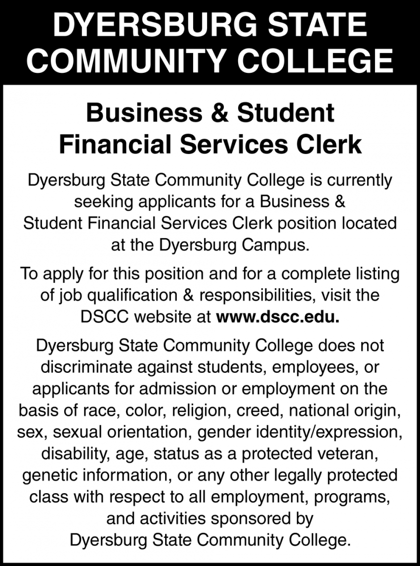 Business & Student Financial Services Clerk