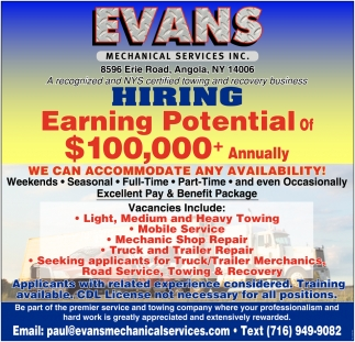 Hiring Earning Potential Of $100,000 + Annually