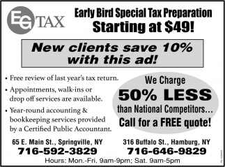New Clients Save 10% With This Ad!