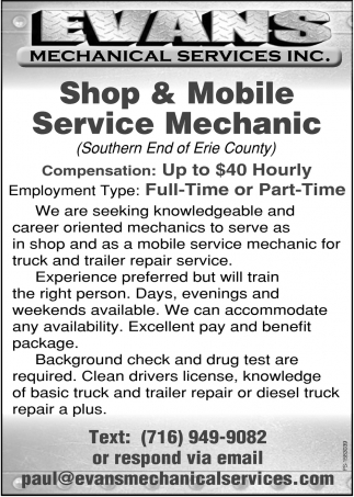 Shop & Mobile Service Mechanic