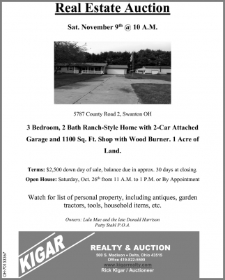 Real Estate Auction - November 9th