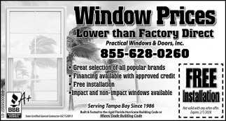 Window Prices Lower Than Factory Direct