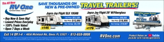 Save Thousands On New & Pre-Owned Travel Trailers!