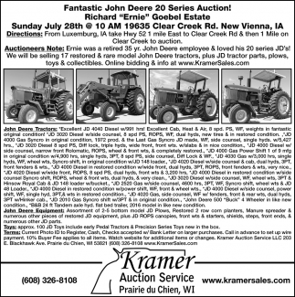 Kramer's Spring Gun & Sporting Auction Saturday
