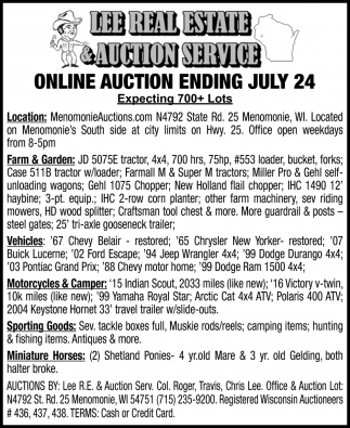 Online Auction Ending July 24