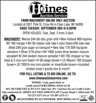 Farm Machinery Online Only Auction