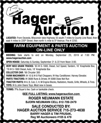 Farm Equipment & Parts Auction On-Line oNly