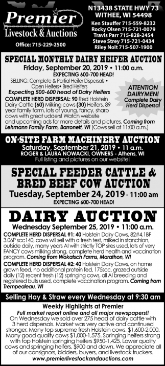 Special Monthly Dairy Feeder Auction