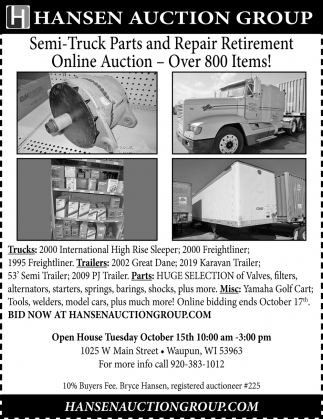 Semi-Truck Parts and Repair Retirement Online Auction