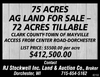 75 Acres AG Land for Sale