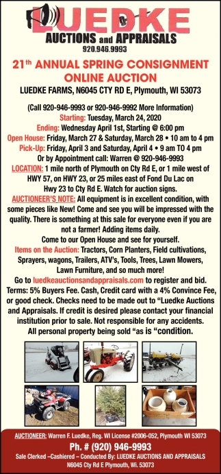 21th Annual Spring Consignment Online Auction