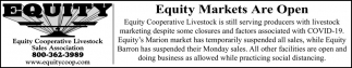 Equity Markets Are Open