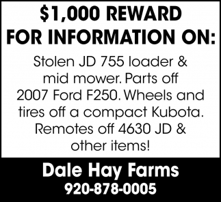 $1000 Reward for Information On