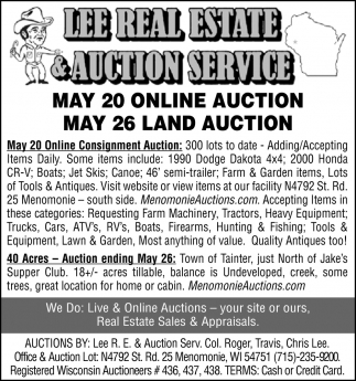 May 20 Online Auction