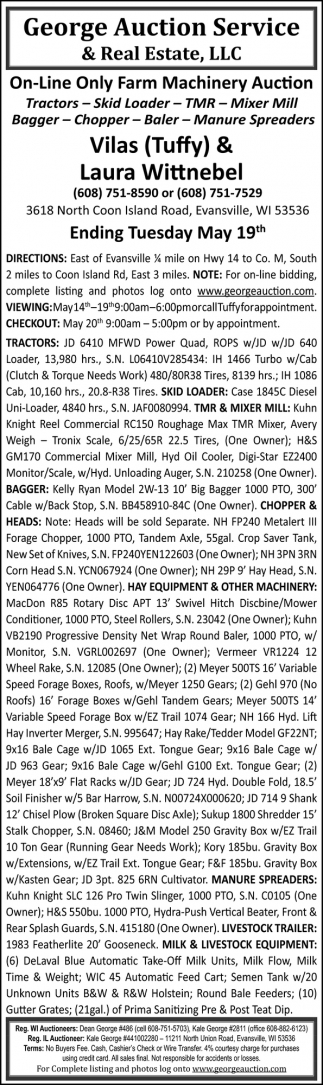 On-Line Only Farm Machinery Auction