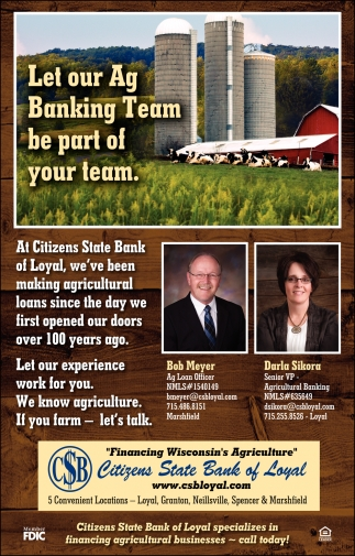 Let Our Ag Banking Team Be art of Your Team